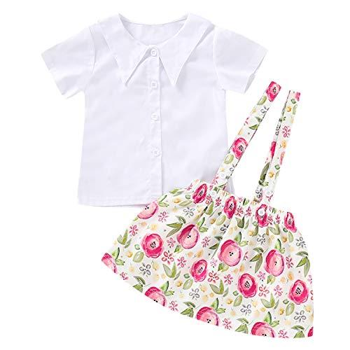 BigBig Style Casual Outfits Lapel Collar Shirt en Bloemen Suspender Rok Kleding Pak voor Kinderen Peuter Meisje, 2 stks/set