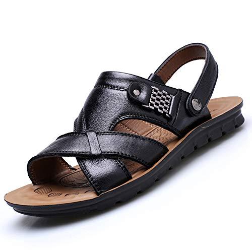 HVSLXM Sandalen Zomer Beach Schoenen Dames Trend Casual Anti-slip Flip Flops Lederen Schoen, Zwart, 10