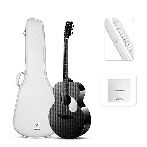 Enya Guitarras Fibra de Carbon EM-X3 36 pulgadas con Elixir Cuerdas Bolsa Correa Negro