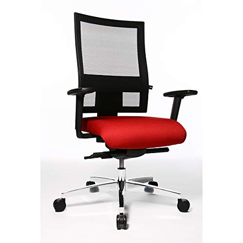Topstar PROFI NET 11 Bürodrehstuhl - Rückenlehne in Netzbandoptik, mit Armlehnen - rot -...