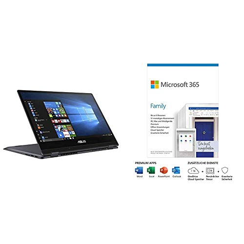 ASUS VivoBook Flip 14 TP412FA 35,5cm (14 Zoll, Full HD, IPS-Level, Touch) Convertible Notebook (Intel Pentium Gold 5405U) Star Grey + Microsoft 365 Family | Box