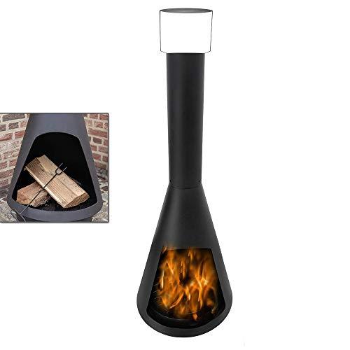 AUFUN 50 x 50 x 130 cm Feuerstelle Hitzebeständiges Terassenofen Feuerschale mit Rauchabzug Ascheschale Gartenkamin für Terrasse Garten Balkon Feuer