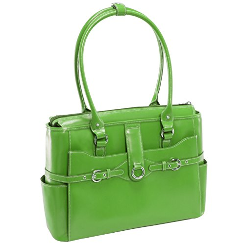 "Women's Briefcase Tote, Leather, 15.6""in, Green - WILLOW SPRINGS 