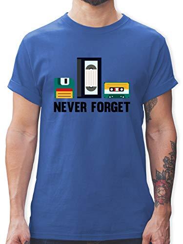 Nerds & Geeks - Never Forget - 3XL - Royalblau - Back to Future Tshirt - L190 - Tshirt Herren und Männer T-Shirts