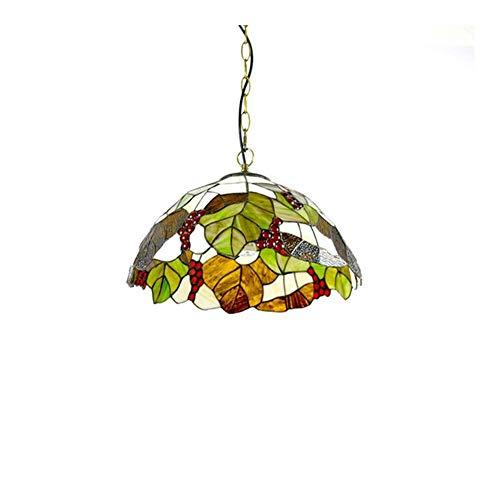 Tiffany Lamp Shade Tiffany Style Colgante lámpara flor vidrio colgante lámpara palanca de luz 16 pulgadas lámpara de techo accesorio vintage estilo hechos a mano tiffany techo luz para comedor sala de