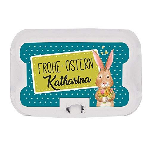 Mini-Eierkarton mit Ostereiern gefüllt - 4 Motive zur Auswahl ✻Ostern ✻Geschenkidee ✻Ostergeschenk ✻Osterhase ✻Osterkorb (Türkis (+ Wunschname))