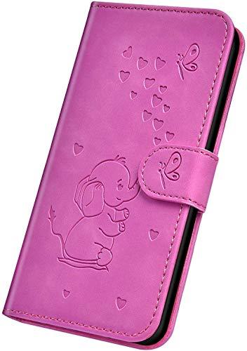 Herbests Kompatibel mit iPhone XS Max Hülle Leder Schutzhülle Handyhülle Flip Wallet Case Cover Liebe Schmetterling Elefant Leder Tasche Klapphülle Kartenfach Magnetisch,Lila Rose