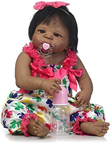 IIWOJ Baby Doll Wiedergeborene Baby Doll 56Cm Big-Eyed Soft Silicone schwarz Skin Girl Christmas Doll