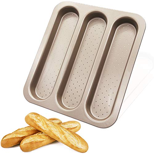 Bandeja para Baguettes Molde para Hacer Baguettes Antiadherente Utensilios Molde de Pan Francés Perforada Espesar Acero Carbono No Deformado