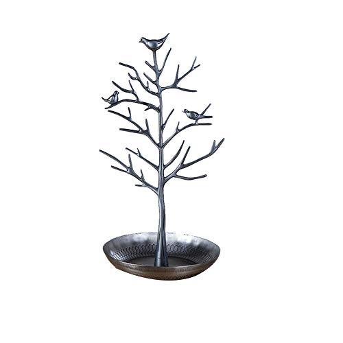 Soporte para joyas, diseño de pájaros y árboles, con forma de árbol, diseño retro de joyas, rack y pendientes, collar, organizador de rack, 1 ajuste de color antiguo, plata, small