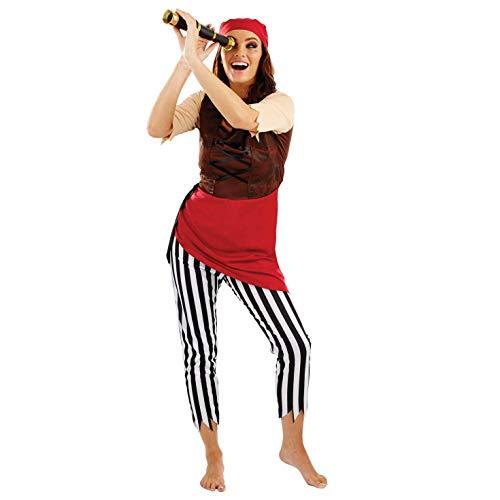 Fun Shack Rotes Piratenkostüm für Damen, sexy Piratenbraut Kostüm, Halloween und Karneval - M