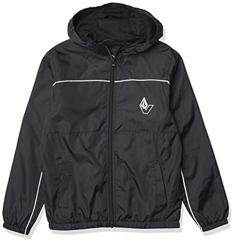 Volcom Boys' Ermont Windbreaker Hooded Jacket, Black, LARGE