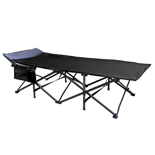 OSAGE RIVER 600LBS Deluxe Camping Cot, Oversized Portable Folding Bed with Pillow, Cupholder, and Pocket, Black
