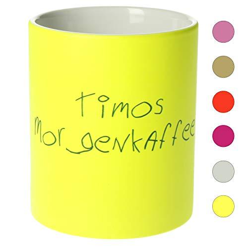 Personalisierte Tasse mit Namen | 0,3 l Farbige Kaffeetasse Teetasse mit eigenem Text zum selbst beschriften Geschenkidee für jeden Anlass (Neon Gelb)