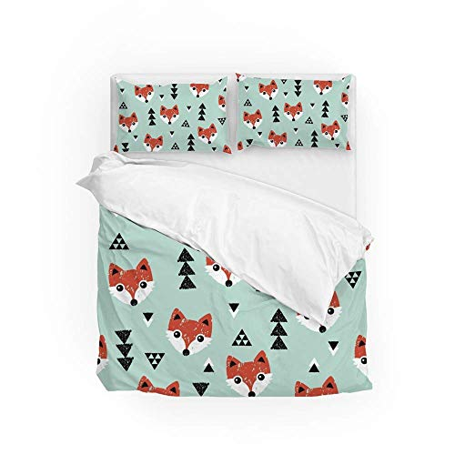 Soft Quilt Bedding Set Cute Fox Faces Duvet Cover with Pillowcases Set 2 PCS 155 x 220 CM, Full Size