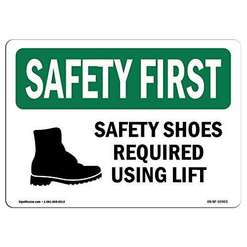 Diuangfoong OSHA Sicherheitsschuhe erforderlich bei Verwendung von Lift mit Symbol, Aluminiumblech, 30,5 x 45,7 cm
