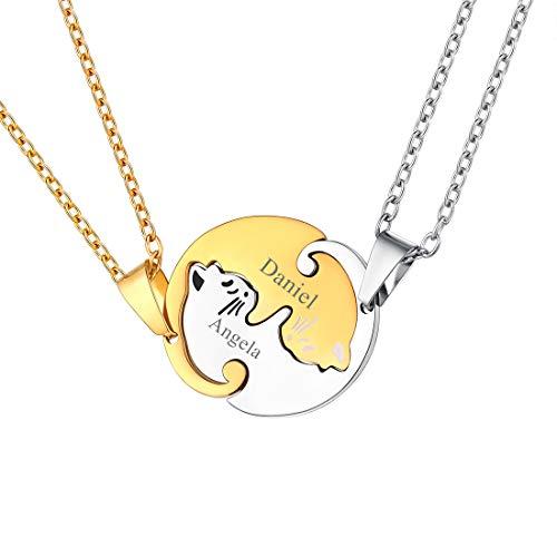 U7 Collar Personalizable de Gatos Cute Puzzle 2 Piezas para Parejas Nombres Grabados Colgantes Redondos Acero Inoxidable 316L Cadena Fina para Cuello joyería DIY para San valentín