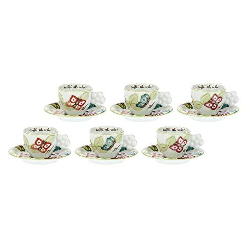 THUN - Set Tazzine caffè da 6, con Decorazione di Farfalle e Manico a Forma di Fiore - Accessori Cucina - Linea Farfalle in Festa - Porcellana