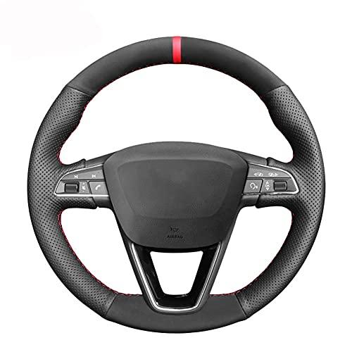 NFRADFM Funda de volante cosida a mano, de ante negro, transpirable y antideslizante, decoración del volante, para Seat Leon 5F Mk3 2013-2019