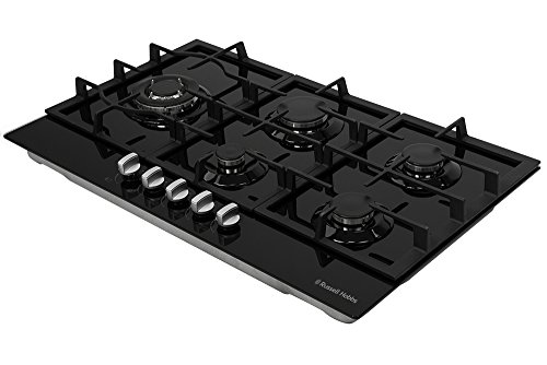 Russell Hobbs RH75GH601B Black Glass 75cm Wide, 5 Burner Gas Hob, Free 2 Year Guarantee
