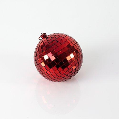 showking Kleine Discokugel LOVELIGHT mit Echtglasfacetten, Ø 5cm, rot - rötliche Spiegelkugel - Farbiger Mirror Ball