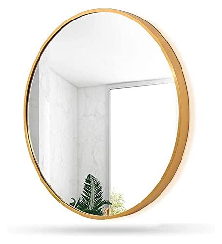 AMDHZ Moderno Espejo de baño Redondo, 40/50/60/13cm Espejo de Afeitado de Dorado Enmarcado, Espejo de Plata para Maquillaje Sala de Estar de vestíbulo Espejo para maquillarse (Size : 60CM)