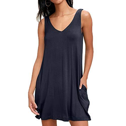 Mujeres Verano Casual Sin Mangas Vestido con Bolsillo Camiseta Floja Vestido