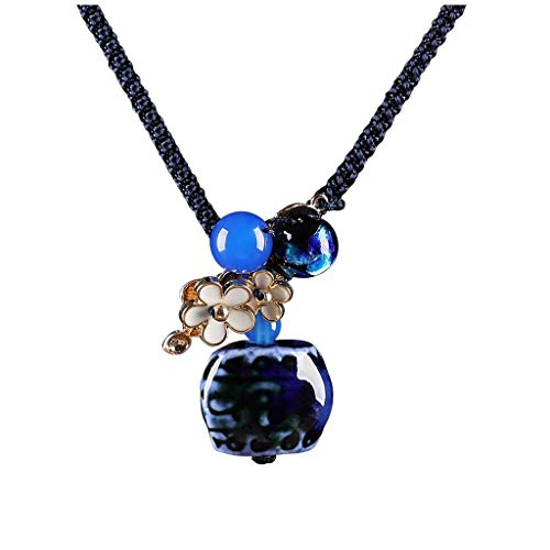 KGDC Necklaces for Women Girls Chinese Style Blue Agate Pendant Handmade Necklace Ceramic Cloisonne Clothes Accessories Pendant Gift for Mother (Length Adjustable) Choker Necklaces