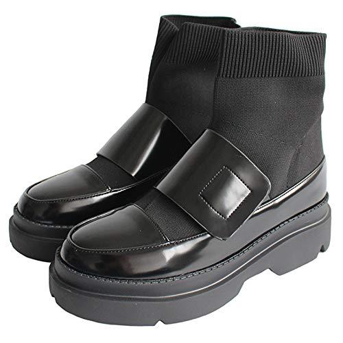 Shukun laarsjes herfst en winter laklederen naden platform Martin laarzen retro spons cake sokken laarzen college vrouwen booties