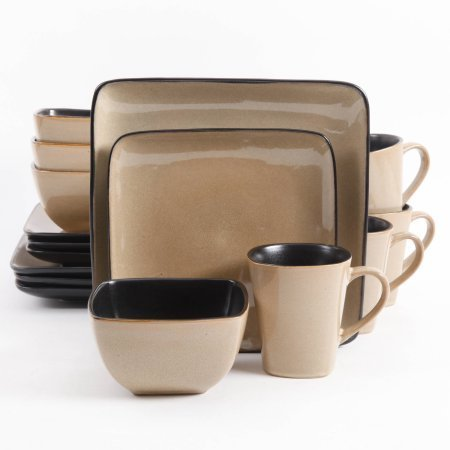 Gibson Everyday Rave Square 16-Piece Dinnerware Set Taupe