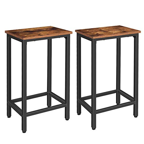 HOOBRO Bar Stools Set of 2 Bar Chairs with Footrest Black Steel Frame Adjustable Feet for Living Room Dining Room Kitchen Industrial Design Rustic Brown BF65BY01
