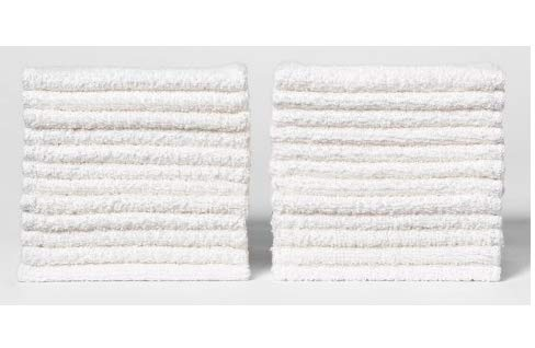 ECO TOWELS 24-Pack Washcloths | Natural Cotton, 12 x 12 Inch, Machine Washable Cleaning Rags and Wash Cloths for Bath Room (24-Pack, White)