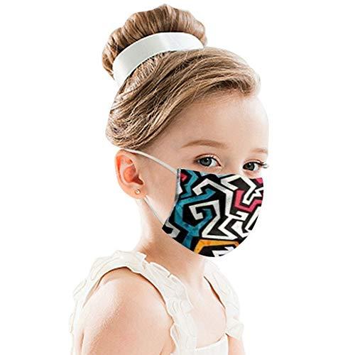 CICIYONER 50/100 Stück Kinder Mundschutz Einweg 3-lagig Atmungsaktiv Face Cover, Outdoor Anti-Staub Bandana Loop Cartoon Druck Face Halstuch für Jungen und Mädchen (50PCS, L)
