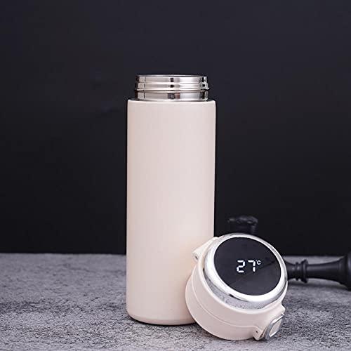 Leftroad Botella Fitness con Tapa y asa,Taza térmica Inteligente de Rebote de Acero Inoxidable-Blanco (2PCS) _320ml,Botella de Agua de Boca Ancha de Metal