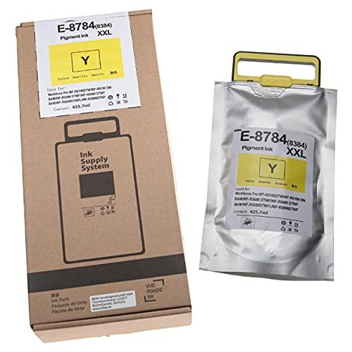 vhbw Cartucho de Tinta Amarillo Compatible con Epson Workforce Pro WF-R 5690 DTWF Flex Bam Impresora (Compatible, 425,7 ml + Chip)