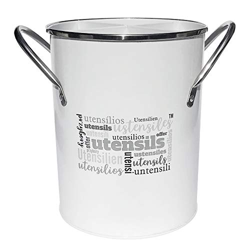 Utensil Holder with Removable Divider White Powder Coated Galvanized Metal Utensil Crock Stainless Steel Handles Multilingual Word Design 675quotH x 525quotW main body measurements