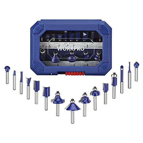 WORKPRO 15-Piece Router Bits Set, 1/4-Inch Shank Tungsten Carbide Router Bits for Woodworking, Solid Woods, Hard Woods, Chipboard, MDF, DIY, and Carpenter