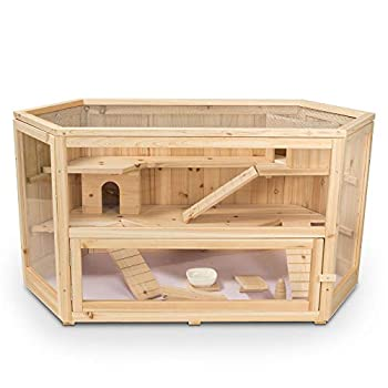 WHC001 Deluxe Fir Wood 3-Tier Hamster Cage 44 x 24 x 23 Inches