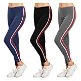 FITG18® Gym wear Leggings Ankle Length Workout Trousers|Stretchable Striped Leggings | High Waist Sports Fitness Track Pants for Girls & Women (Pack of 3) (Free Size 28-34 Inch) (3 Set WR, Free Size)