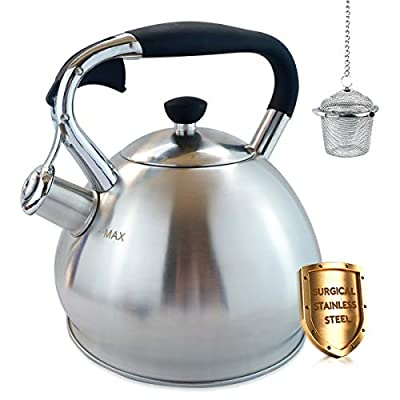 Stove Top Whistling Tea Kettle,2.7L Tea Pot with Cool Touch Ergonomic Handle?Stainless Steel Finish 1YR Warranty -Tea Maker Infuser Included by ZOMSTA
