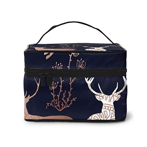 Women's Travel Organization Beauty Cosmetic Make up Storage Lady Wash Bags,Christmas Mandala Reindeer Handbag Pouch