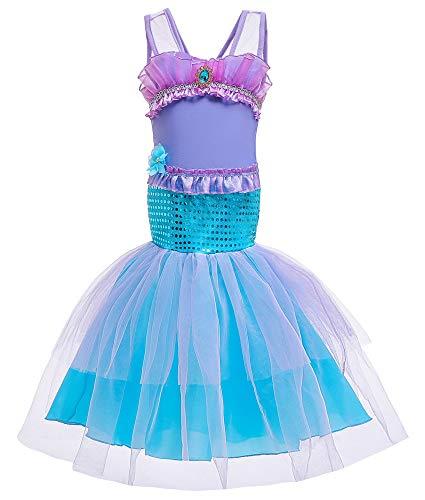 FStory&Winyee Kinder Meerjungfrau Kostüm Fasching Mädchen Prinzessin Ariel Kleid Nixe Cosplay Outfit Karneval Verkleidung Party Mermaid Fancy Dress Weihnachten Halloween Geburtstag Geschenk