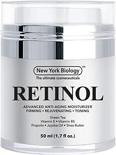 New York Biology Retinol Cream Moisturizer for Face and Eye Area - Anti Aging Infused with Vitamin A and E for Fine Lines and Wrinkles - 1.7 oz