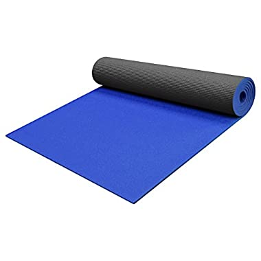 YogaAccessories 1/4  Thick High-Density Deluxe Non-Slip Exercise Pilates & Yoga Mat, Two Tone - Black/Blue