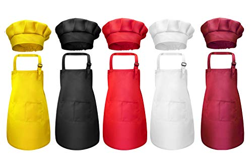 Tamicy 10 Pieces Kids Chef Hat and Apron Set - Child Kitchen Bib Aprons with Pockets Girls Boys Chef Hats for Cooking Baking Gardening Painting Wear (Black,White,Wine Red,Yellow,Red)