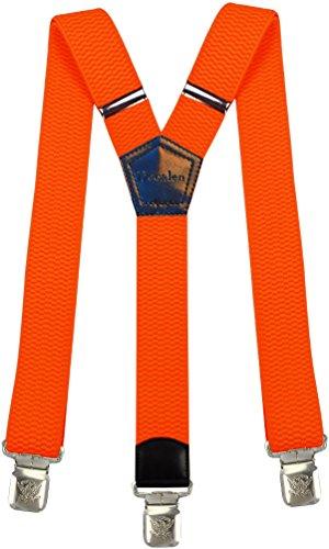 Hosenträger für Herren breit extra starken 4 cm mit 3er Clips Y-Form Lange für Männer und Damen Hose (Hellorange)