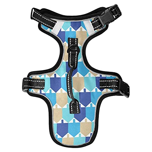 Hanukkah Dog Harness, Adjustable Soft Puppy Dog Harnesses for Small Medium Size Dogs No Pull, Service Dog Vest Harness with Handle Reflective for Walking Training