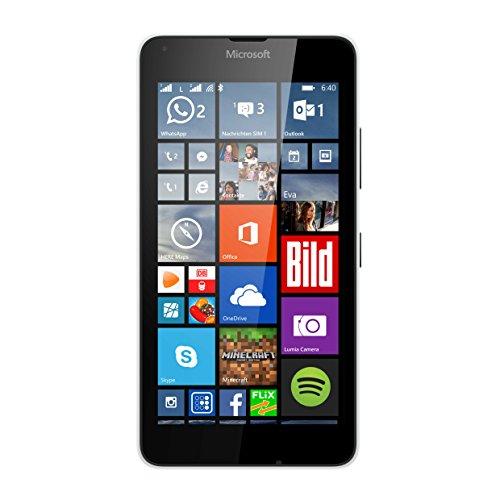 Microsoft Lumia 640 Dual-SIM LTE Smartphone (12,7 cm (5 Zoll) HD-IPS-Display, 1,2 GHz-Quad-Core-Prozessor, 8 Megapixel-Kamera, 2500 mAh Akku, 3G & 4G LTE, Dual-SIM, Windows Phone 10) weiß