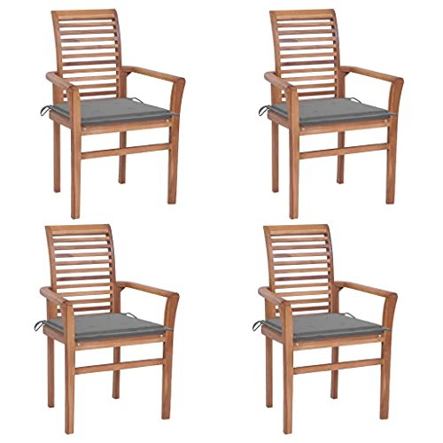vidaXL 4X Teak Massiv Essstuhl mit Grauen Kissen Stapelbar Gartenstuhl Stapelstuhl Stuhl Stühle Gartenstühle Holzstuhl Sessel Gartenmöbel