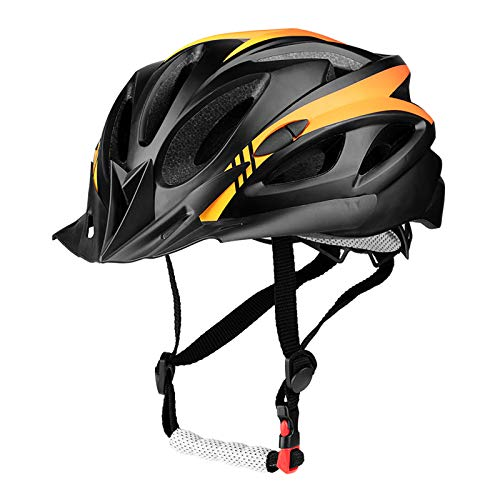 SUNRIMOON Adult Cycling Bike Helmet Bicycle Cycling Helmets Lightweight Road Bike Helmet Microshell Design Adjustable Size with Detachable Visor LED Safety Light for Women Men 21.26-24.41(Orange)